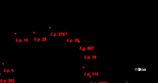 Újezd u Brna 807 na parcele st. 172 v KÚ Újezd u Brna, Katastrální mapa