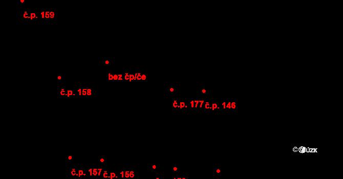 Mochov 177 na parcele st. 309 v KÚ Mochov, Katastrální mapa