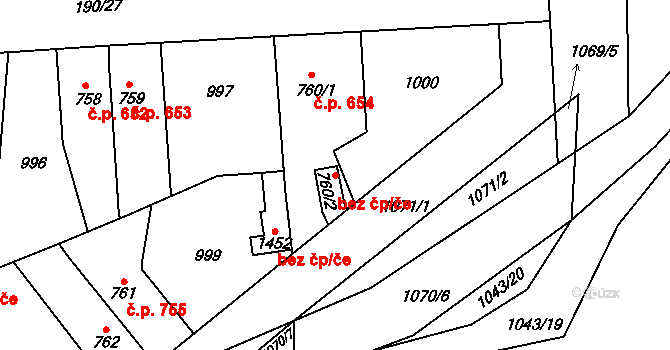 Pardubice 46727451 na parcele st. 760/2 v KÚ Svítkov, Katastrální mapa