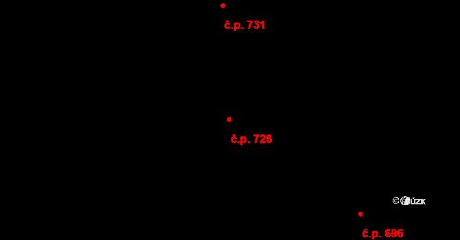 Prštné 726, Zlín na parcele st. 1166 v KÚ Prštné, Katastrální mapa
