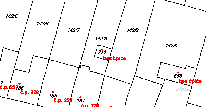 Rožďalovice 96051451 na parcele st. 710 v KÚ Rožďalovice, Katastrální mapa