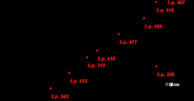 Podivín 410 na parcele st. 1356 v KÚ Podivín, Katastrální mapa