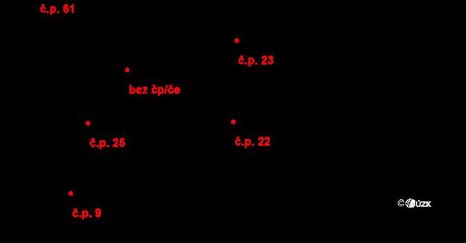 Loucká 22 na parcele st. 225 v KÚ Loucká, Katastrální mapa