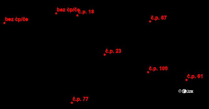 Branov 23 na parcele st. 28 v KÚ Branov, Katastrální mapa