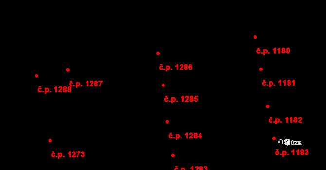 Svítkov 1285, Pardubice na parcele st. 1963 v KÚ Svítkov, Katastrální mapa