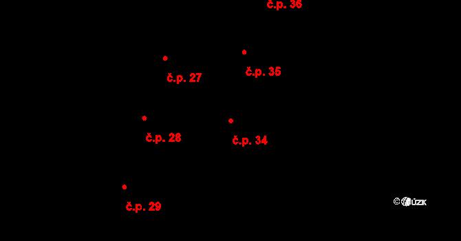 Nové Sady 34, Olomouc na parcele st. 34 v KÚ Nové Sady u Olomouce, Katastrální mapa