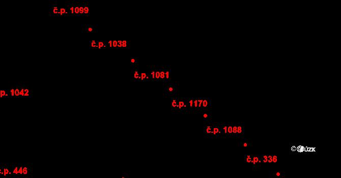 Hluk 1170 na parcele st. 1253/3 v KÚ Hluk, Katastrální mapa