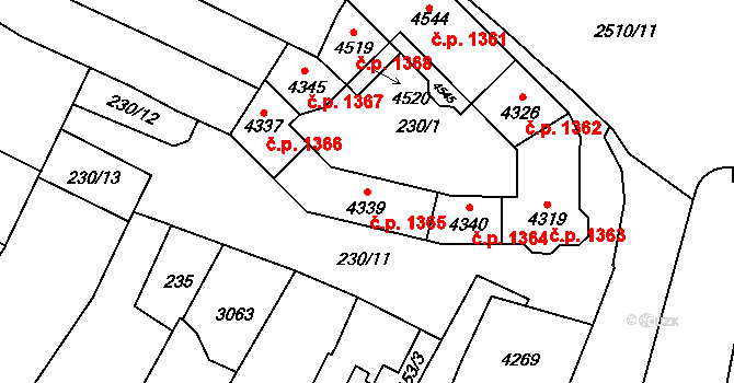 Kyjov 1365 na parcele st. 4339 v KÚ Kyjov, Katastrální mapa