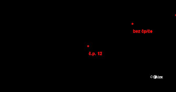Březí 12, Pernarec na parcele st. 12 v KÚ Březí u Pernarce, Katastrální mapa