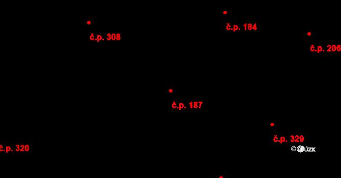 Davle 187 na parcele st. 698 v KÚ Davle, Katastrální mapa