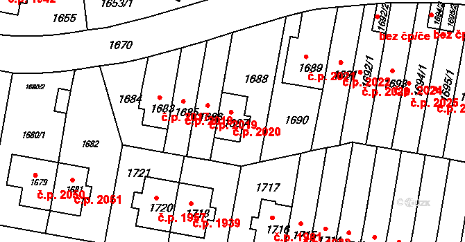 Záběhlice 2020, Praha na parcele st. 1687 v KÚ Záběhlice, Katastrální mapa