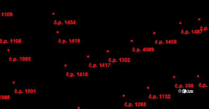 Hodonín 1302 na parcele st. 980 v KÚ Hodonín, Katastrální mapa