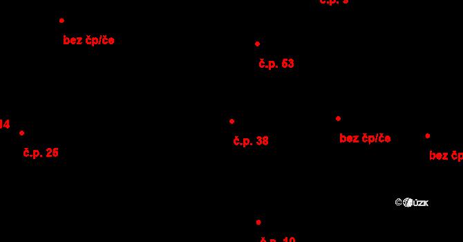 Vrbová Lhota 38 na parcele st. 46 v KÚ Vrbová Lhota, Katastrální mapa