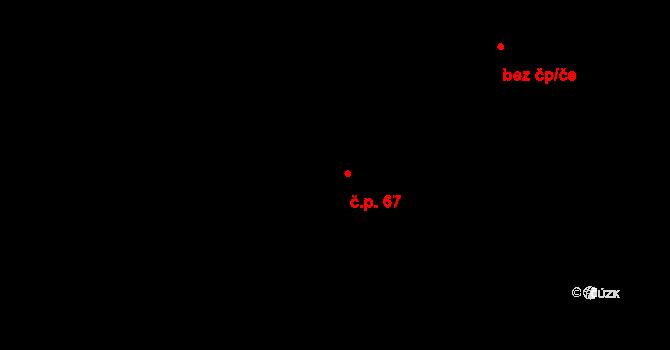 Planá 67 na parcele st. 412/12 v KÚ Planá u Českých Budějovic, Katastrální mapa