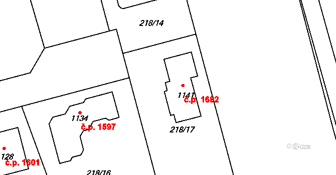Švermov 1682, Kladno na parcele st. 1141 v KÚ Hnidousy, Katastrální mapa