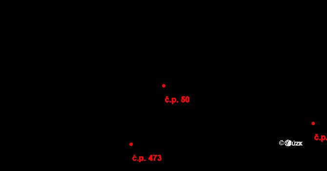 Bludov 50 na parcele st. 50/1 v KÚ Bludov, Katastrální mapa