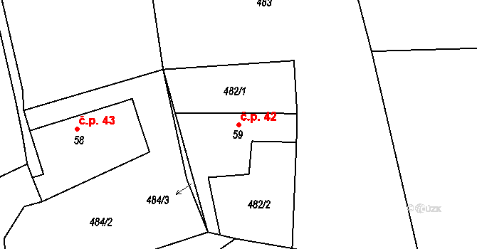 Benešova Hora 42, Vacov na parcele st. 59 v KÚ Benešova Hora, Katastrální mapa