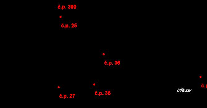 Nové Sady 36, Olomouc na parcele st. 32 v KÚ Nové Sady u Olomouce, Katastrální mapa