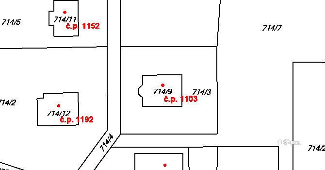 Vendryně 1103 na parcele st. 714/9 v KÚ Vendryně, Katastrální mapa