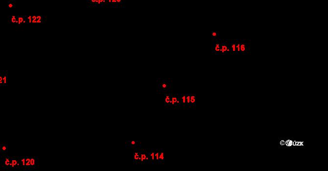 Písek 115 na parcele st. 376/31 v KÚ Písek u Chlumce nad Cidlinou, Katastrální mapa