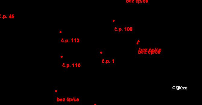 Studánka 1 na parcele st. 147 v KÚ Studánka u Tachova, Katastrální mapa