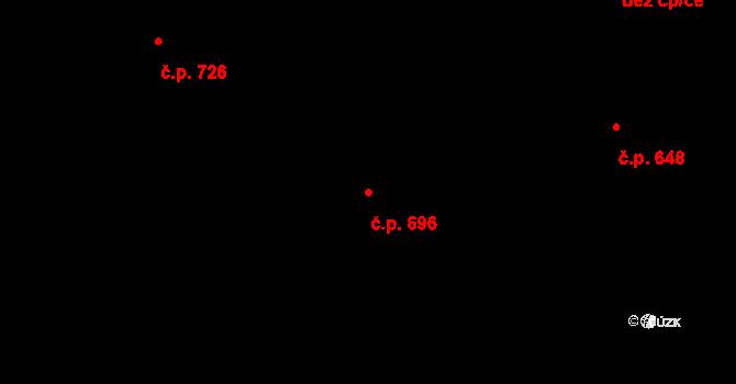 Prštné 696, Zlín na parcele st. 1127 v KÚ Prštné, Katastrální mapa