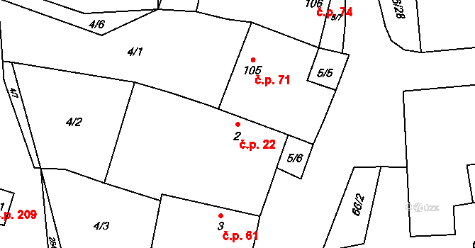 Plavsko 22 na parcele st. 2 v KÚ Plavsko, Katastrální mapa