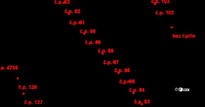 Staré Hory 87, Jihlava na parcele st. 421 v KÚ Staré Hory, Katastrální mapa