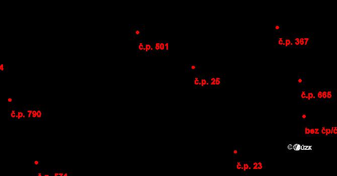 Buchlovice 25 na parcele st. 697 v KÚ Buchlovice, Katastrální mapa