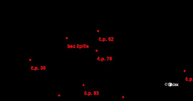 Žďár 75 na parcele st. 76/1 v KÚ Žďár u Blanska, Katastrální mapa