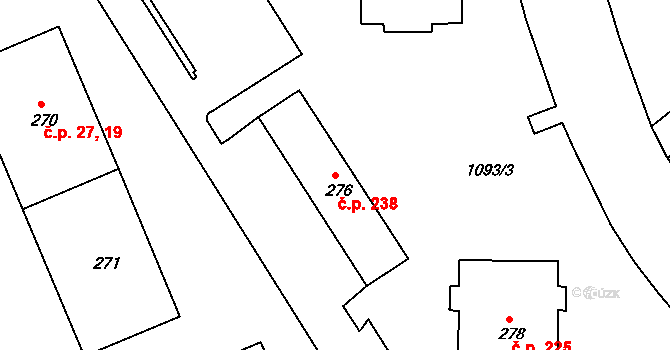 Nová Role 238 na parcele st. 276 v KÚ Nová Role, Katastrální mapa