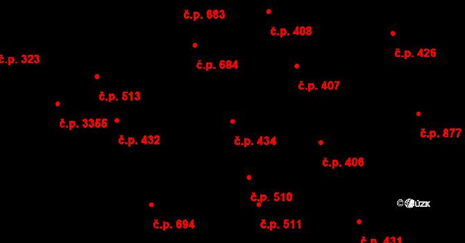 Kladno 434 na parcele st. 6488/1 v KÚ Kladno, Katastrální mapa