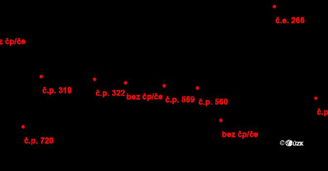 Úpice 559 na parcele st. 555 v KÚ Úpice, Katastrální mapa