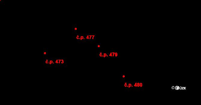 Krč 479, Praha na parcele st. 1254/5 v KÚ Krč, Katastrální mapa