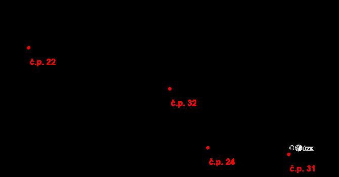 Bratronice 32 na parcele st. 28 v KÚ Bratronice, Katastrální mapa