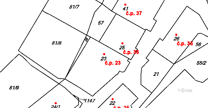 Meziříčko 23 na parcele st. 23 v KÚ Meziříčko u Moravských Budějovic, Katastrální mapa