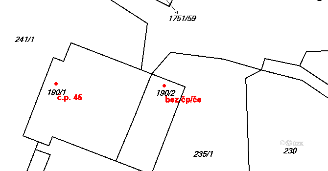 Karle 46009485 na parcele st. 190/2 v KÚ Karle, Katastrální mapa