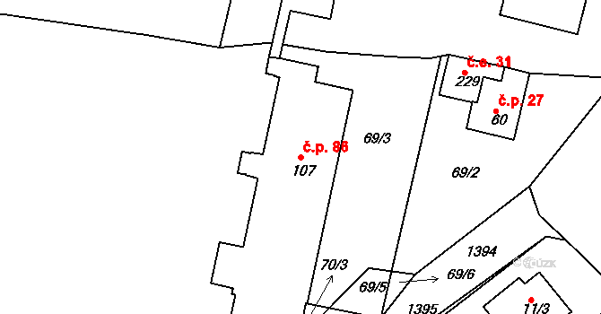 Dušejov 86 na parcele st. 107 v KÚ Dušejov, Katastrální mapa