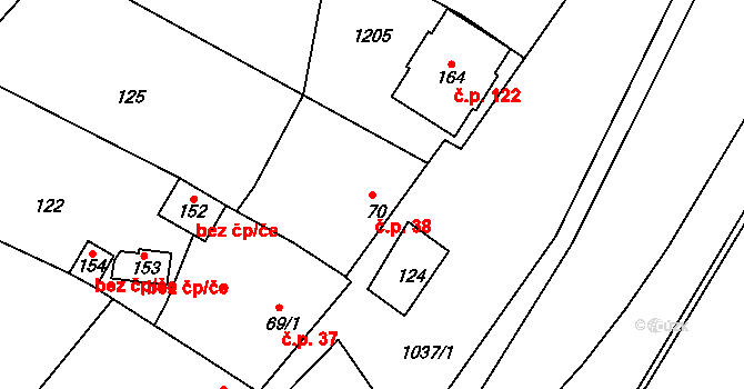 Lhota 38, Pačlavice na parcele st. 70 v KÚ Lhota u Pačlavic, Katastrální mapa