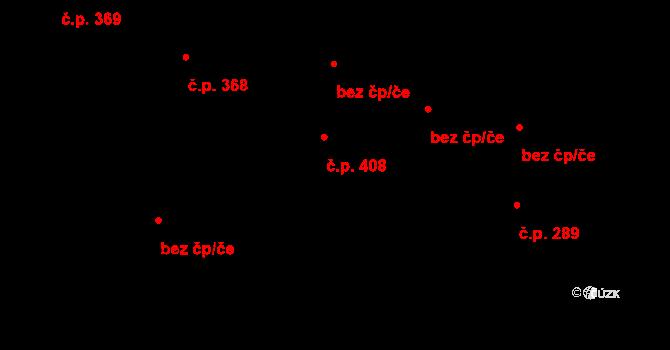Písek 408 na parcele st. 784 v KÚ Písek u Jablunkova, Katastrální mapa