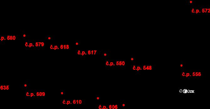 Velké Pavlovice 550 na parcele st. 1141 v KÚ Velké Pavlovice, Katastrální mapa