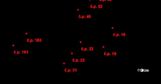 Hudcov 23, Teplice na parcele st. 335/1 v KÚ Hudcov, Katastrální mapa