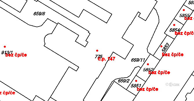 Mladá Boleslav II 147, Mladá Boleslav na parcele st. 775 v KÚ Mladá Boleslav, Katastrální mapa
