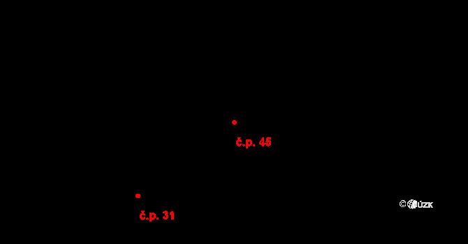 Rovná 45 na parcele st. 21 v KÚ Rovná u Hořepníku, Katastrální mapa