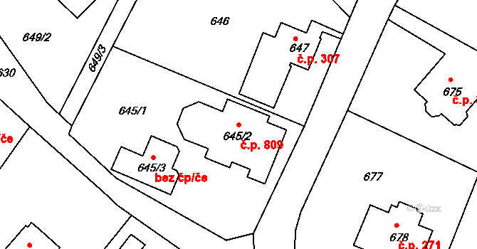 Liberec XV-Starý Harcov 809, Liberec na parcele st. 645/2 v KÚ Starý Harcov, Katastrální mapa