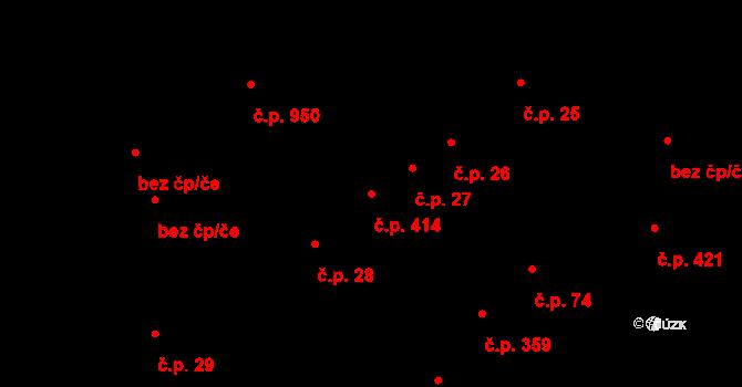 Podivín 414 na parcele st. 1335 v KÚ Podivín, Katastrální mapa