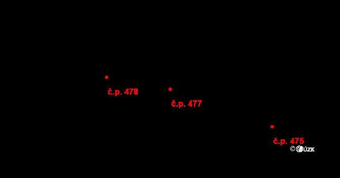 Nivnice 477 na parcele st. 2068/11 v KÚ Nivnice, Katastrální mapa