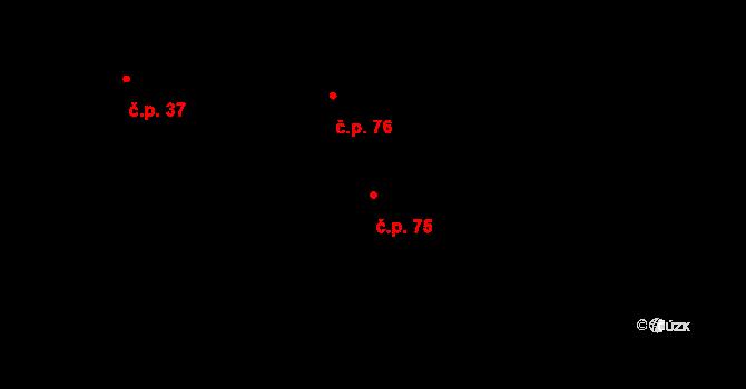 Stránka 75 na parcele st. 126 v KÚ Stránka u Mšena, Katastrální mapa
