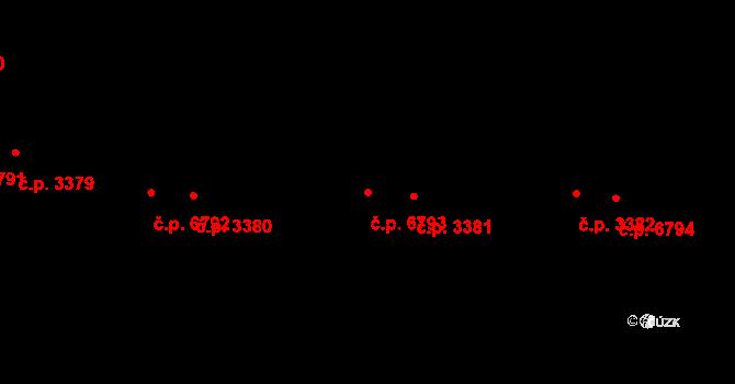Zlín 6793 na parcele st. 4054/1 v KÚ Zlín, Katastrální mapa