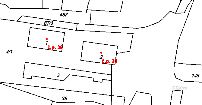 Lhota pod Pannou 38, Homole u Panny na parcele st. 2 v KÚ Lhota pod Pannou, Katastrální mapa